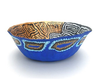 Abstract decor bowl. Blue and copper bowl. Paper mache. Coffee table bowl. Table centerpiece. Home décor bowl. Tribal motif.