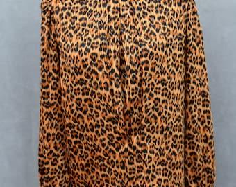 Leopard Print High Collar Blouse