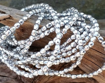 3mm Silver Glass Beads Czech Faceted CZ-300,silver glass beads,3mm silver beads,silver spacer beads,silver accent beads,faceted silver bead