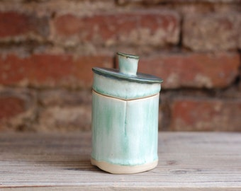 Teal Lidded Ceramic Jar