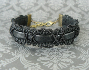 Black Lace and Faux Leather Bracelet, Black Goth Cuff, Imitation Leather Jewelry, Vintage Style Jewelry, Baroque Lace and Vinyl Bracelet
