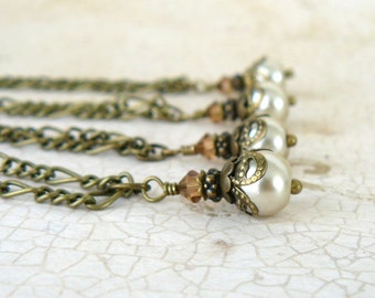 Cream Pearl Pendant, Vintage Style Necklace, Cream Glass Pearl and Topaz Swarovski Elements Crystal, Romantic Jewelry, Fall Jewelry