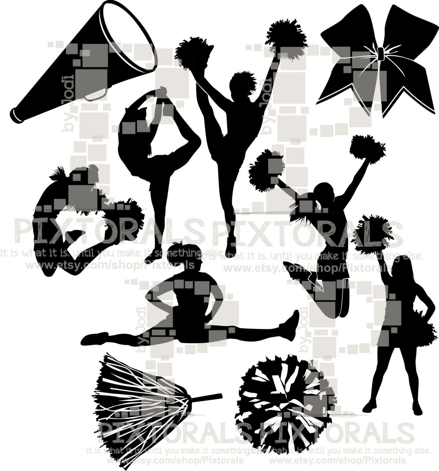 cheerleading vector 10 cheerleading silhouettes line art eps file vector 9517