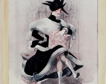 1920s La vie Parisienne vintage art deco print. redhead woman in black