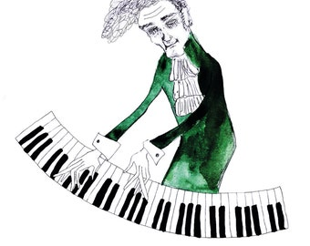 Art print postcard: Piano man