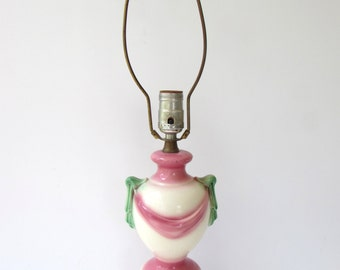 Sweet Vintage Mid Century Table Lamp - Ceramic Urn Shape with Pink and Green Swag Design - White Pink Green Lamp -