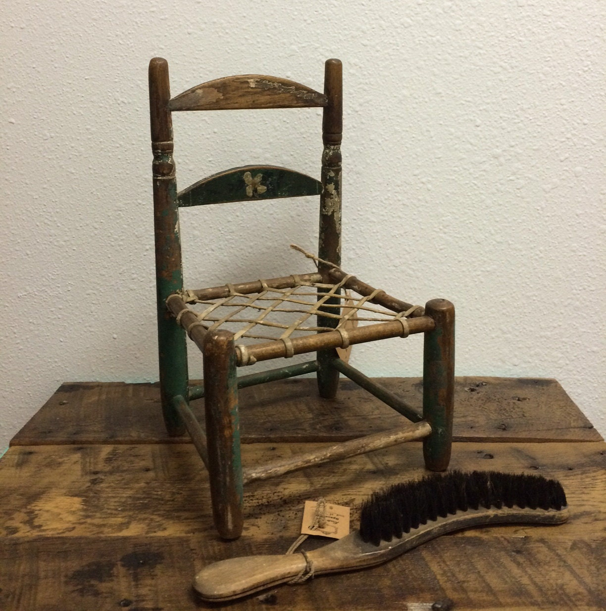 Vintage Doll Chair wooden with woven leather strap seat ...