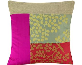Linen cushion cover, olive tree cushion, silk cushion, floral pillow 40x40cm
