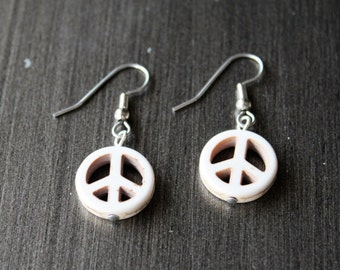 Natural Peace sign earrings