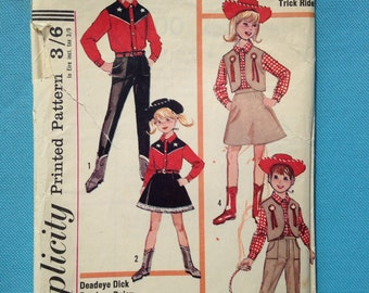 Vintage 1960s Simplicity sewing pattern for children's Western, cowboy & girl costumes