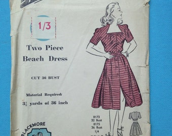 Vintage 1950s Blackmore sewing pattern for 2-piece beach dress