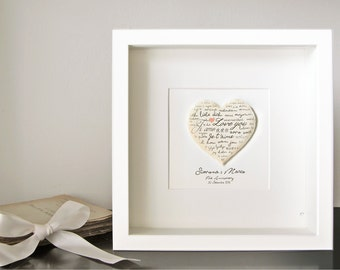 Personalized First Anniversary, Custom Paper wedding gift, first year of marriage customized couple gift - Heart love - Paper 3D - Art frame