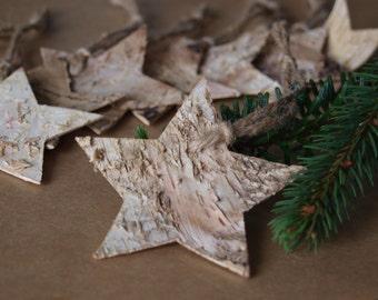 x8 Real Birch Bark Rustic Stars - Natural Gift Tags - Christmas / Wedding Decorations