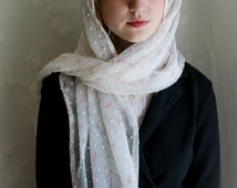 Evintage Veils~ Our Lady Rosebud  Swiss Dot Chiffon Floral Vintage Inspired Lace Chapel Veil Mantilla Scarf TWO COLORS