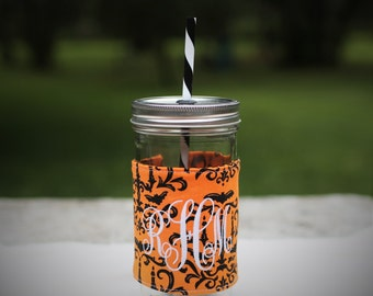 Personalized Halloween Damask Tumbler | Halloween | Fall Gifts | Orange and Black Damask |