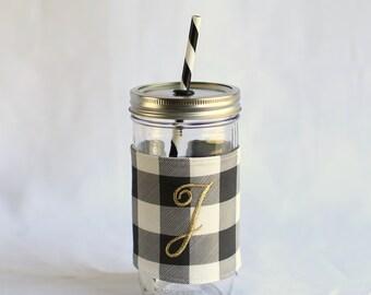 Plaid Mason Jar Tumbler 24 oz   Custom Mason Jar   Plaid Love   Black and White   Mason Jar Cup   Personalized Tumbler   Bridesmaid Gift
