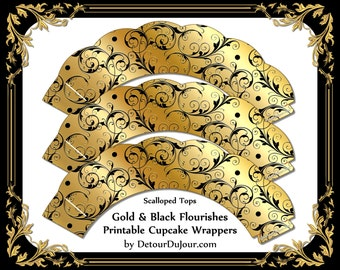 1/2 OFF COUPON Elegant Gold Cupcake Wrappers, Printable Scalloped Cupcake Wraps, Black Gold Cupcake Holders, Metallic Cupcake Wrappers