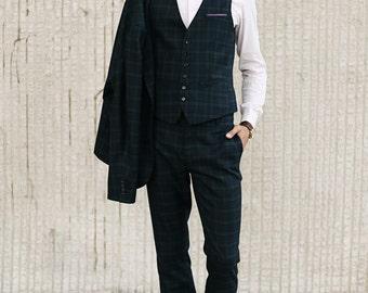Men's slim wool tartan pants