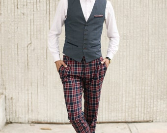 Mens checkered wool PANTS Mens tailored trousers Trousers with pleats Pleated plaid pants Mens clothing Navy red Designer pants