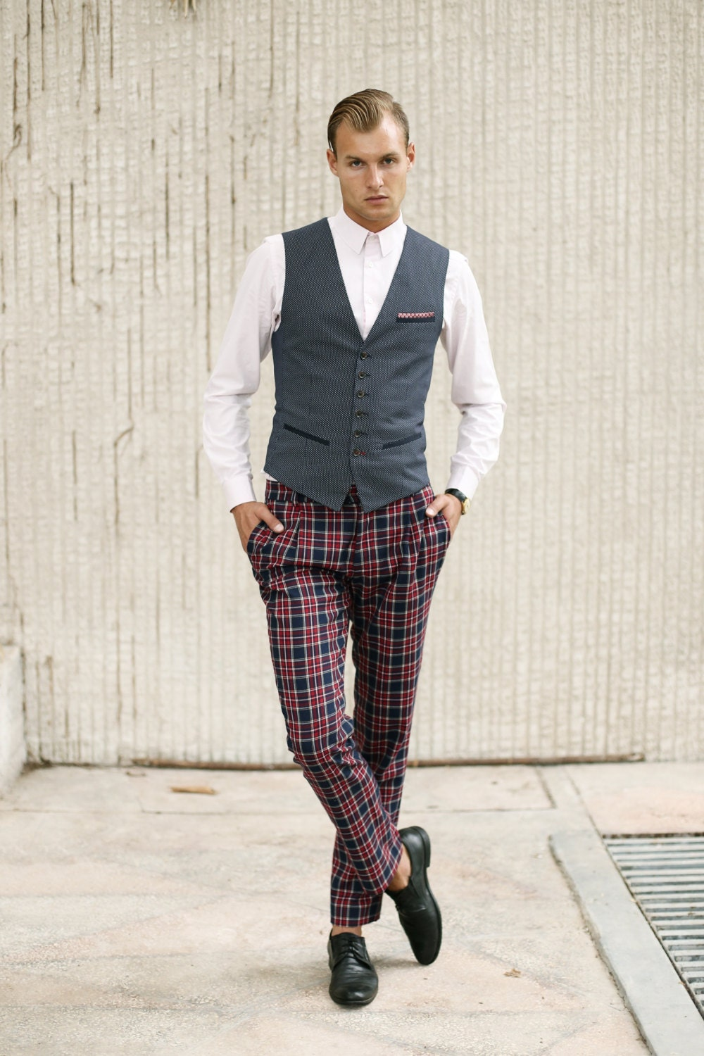 Mens checkered wool PANTS Mens tailored trousers Trousers with
