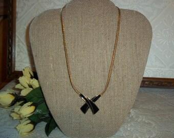 "Stunning Vintage Trifari Black Enamel Cross~Over ""X"" Design Gold~Tone Pendent Necklace 1980's Classic Trifari Costume Jewelry"