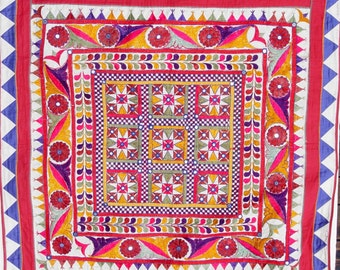 """Large Vintage Embroidered Wall Hanging,  Nine '8-Pointed Stars' , 16 Flowers, Mirrors Reflecting Light, Altarpiece, Decorative, 40"""" Square"""