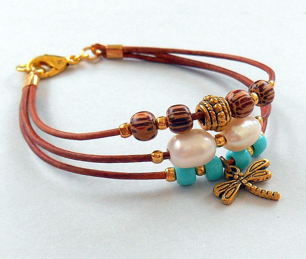 freshwater pearl triple strand leather boho bracelet w charm. Black Bedroom Furniture Sets. Home Design Ideas