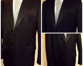 70s Vintage Black Worsted Wool Mens Suit  Formal Style  Size 40 R