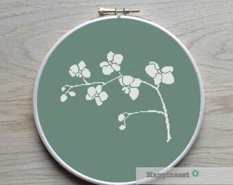 cross stitch pattern orchid, modern cross stitch, flower, PDF pattern ** instant download**