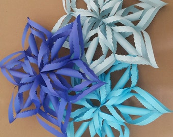 "Frozen Birthday Decorations 14"" 3D  Blue Paper Snowflakes, Frozen Birthday, Frozen Party, Frozen Colors, Paper Christmas Decorations"