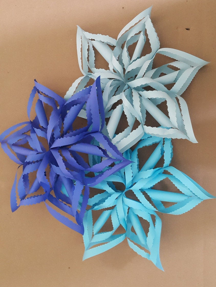 Frozen Birthday Decorations 14 3D Blue Paper