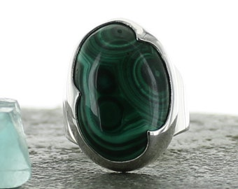 Silver ring Malachite. 5,25. Natural stone.