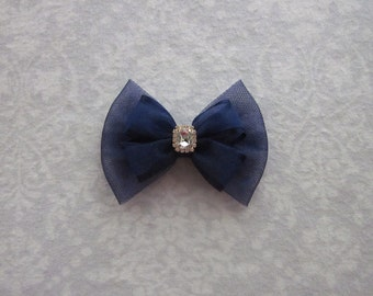 Navy Blue Satin Organza Shimmer Tulle Bow, Pearl Rhinestone Gold Silver, Handmade, Flower Girl, Wedding Hair Accessory, School Uniform