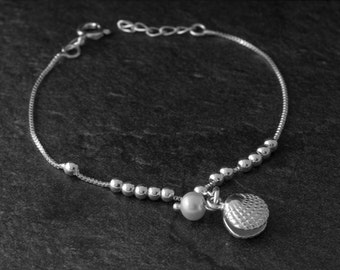Sterling Silver Pearl Bracelet/ Freshwater Pearl Bracelet/ Silver Pearl Jewelry/ 925 Sterling Silver Bracelet/ Bridal Bracelet