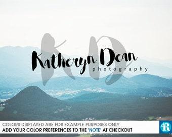 SALE Photography Logo Handwritten Watercolor Style, Premade Logo, Cursive Logo, Brush Script Watermark, Katheryn Logo, Katherine Logo