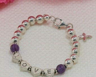 Pure Love Sterling Silver Bead Bracelet with Gemstone and Lucky Cross Charm