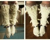 Sheep Socks Valentines Day Gifts Handmade socks Hand knit socks Knee high socks Wool socks Warm winter socks