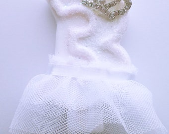 White Princess Tutu Candle-Princess Party-Fairy Party-Winter Wonderland-Birthday Parties-Frozen Party Theme-Snow White- 3rd Birthday