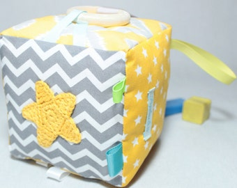 Fabric Baby Blocks, Taggie Cube, Sensory Toys, Teething Ring, Yellow, Gray, Soft fabric Block, Baby Cube