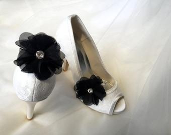 Evening Shoes-Black Shoes Clip-Bridal Shoes Clip-Wedding Shoes Clip-Shoes Clip-Rhinestone Shoes Clip-Black Flower Rhinestone Shoes Clip