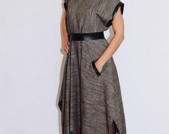 winter dress/ asymmetrical dress/ Casual dress / Unique Dress / Oversized Dress/ maternity dress/ wool dress/ leather dress