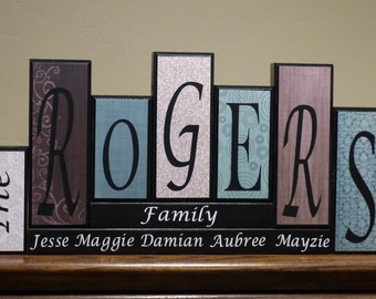 Items similar to home decor family name letter blocks red for Living room 6 letters