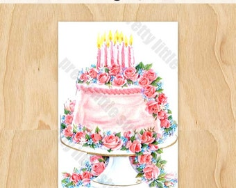 Birthday Cake Pink Roses Vintage Card Digital Download