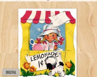 Digital | Lemonade Stand | Vintage Digital Image Download Greeting Card 1950's