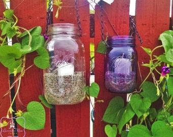 Garden Lights,Lavender&Botanical Filled Mason Jar Lantern with votive. Pint/Quart size. Patio Lantern,Wedding, Centerpieces,Hanging Lantern