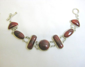 Whitney Kelly Designed Red Mosaic Red Jasper Cabochons Double Linked Sterling Bracelet