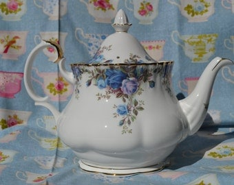 SALE Royal Albert Moonlight Rose Teapot, Full size 2 1/4 pint, Vintage English Bone China, Blue Roses And Gilt, for Tea Set, First Quality