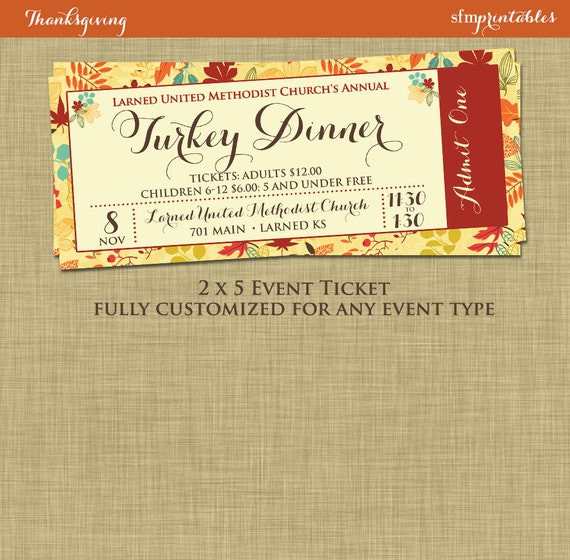 Fall turkey dinner event ticket harvest thanksgiving for Fundraiser dinner tickets template