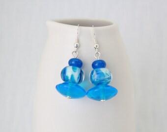 Earrings, Bright Blue Earrings – Dangle Earrings, Glass Lampwork Earrings, Sterling Silver Earrings, Blue Glass Beads, One Of A Kind