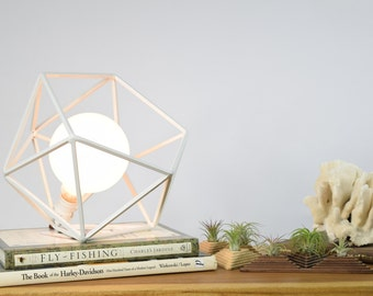 Table Lamp, Modern Geometric Edison Bulb Lamp, The Mercedes Geometric Table Lamp, UL Certified Residential Commericial, WHITE COLOR